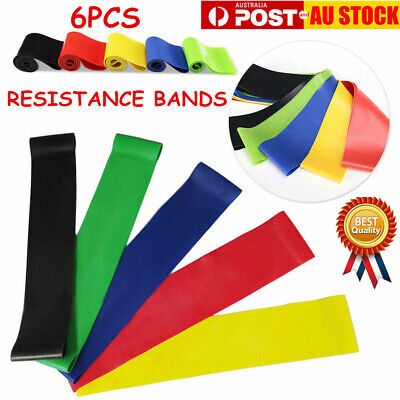6Pcs Resistance Loop Bands Mini Band GYM Exercise Crossfit Strength Fitness AU