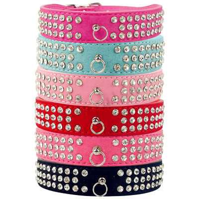 Pu Luxury Rhinestone Diamante Crystal Band Pet Puppy Dog Cat Collar Leather Tags