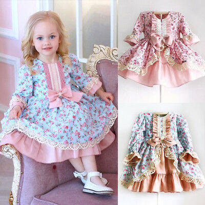 UK Retro Kids Baby Girl Dress Xmas Thanksgiving Lace Flower Party Pageant Dress