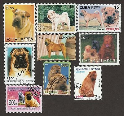 SHAR-PEI ** Int'l Dog postage Stamp Collection ** Great Sharpei Gift Idea**
