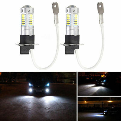 2 x H3 4014 30SMD 1200LM LED DRL Fog Light Car Bulb DC 12V 6500K White