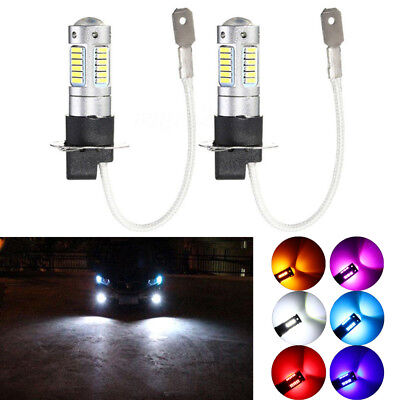 2 x H3 4014 30SMD 1200LM LED DRL Fog Light Car Bulb DC 12V 6500K