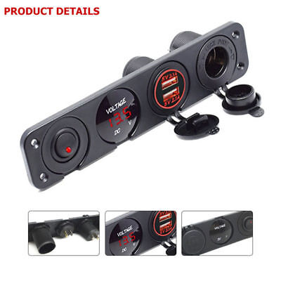 4.2A Dual USB Charger LED Voltmeter Cigarette Lighter Socket Switch Panel Red