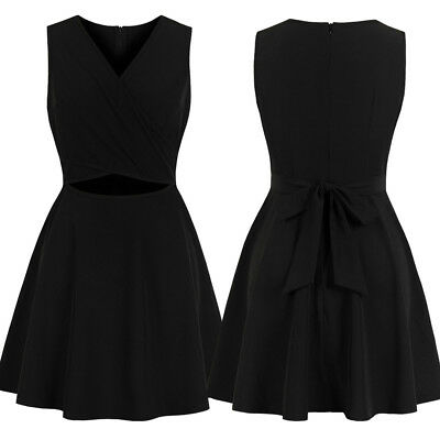 Women 1950s Vintage Cut Out Sleeveless Clubwear Party Cocktail Retro Swing Dress