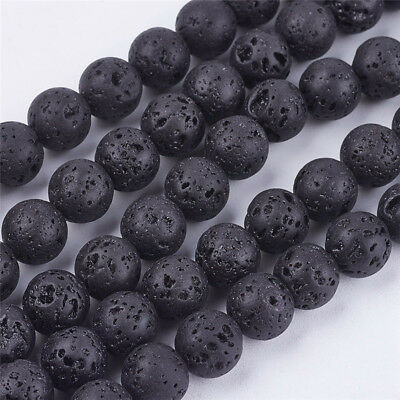 5 Strands 4.5mm/6.5mm/8mm/10mm/12mm/14mm Round Natural Lava Stone Bead Strands