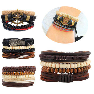 4pcs Men Women Black Leather Tribal Beaded Cuff Wristband Bangle Bracelet Set US