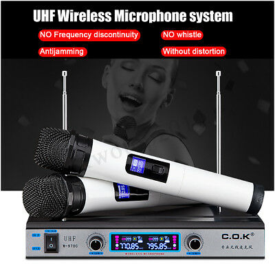 Pro Dual UHF Wireless Microphone System Receiver Mic Handheld Cordless Stage KTV