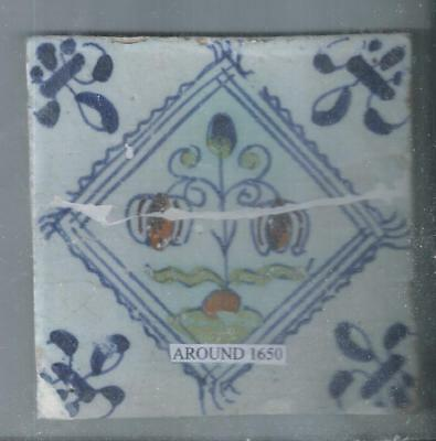 Antique Holland Delft Tile Around 1650