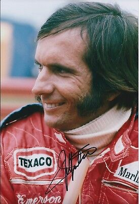 SIGNED Emerson FITTIPALDI Autograph Marlboro Texaco RARE F1 12x8 Photo AFTAL COA