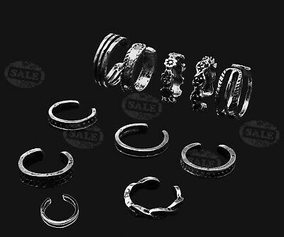 12Piece Silver Adjustable Carved Thumb Stacking Midi Ring Toe Knuckle Top Finger