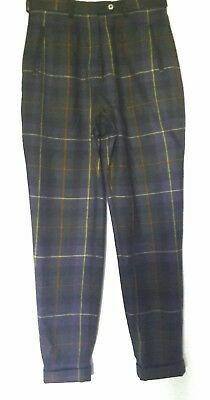 TARTAN CHECK PLAID TROUSERS Vintage 80's Pure New Wool SIZE 14 MORE 12