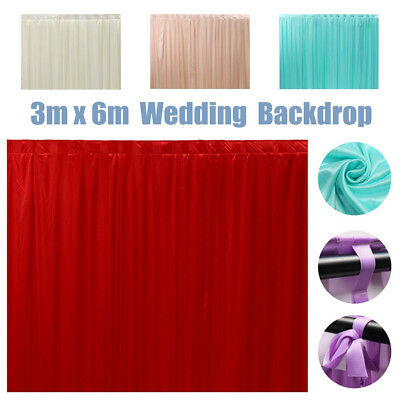 3M X 6M White Stage Wedding Backdrop Photography Background Drape Curtains UK