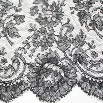 Antique Black cotton embroidered Flower Chantilly lace, France