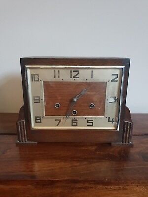 Antique 1930's Rectangle Faced Westminster Chime Oak Mantel Clock with Pendulum