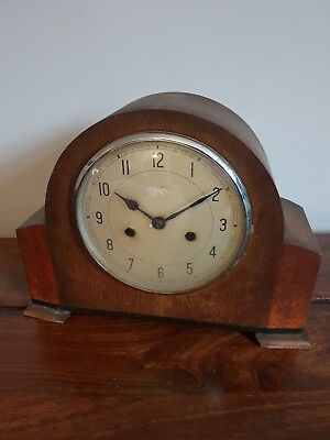Antique 1930's Enfield Oak Mantel Clock (Chiming with Pendulum Napoleon Hat)
