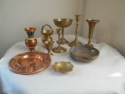 Job Lot Of Brass And Copper Ware  Candlesticks Vases/pin Dishes/cups.etc.