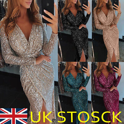 UK Women Sequin V Neck Wrap Christmas Dress Bodycon Evening Party Dress Size6-18