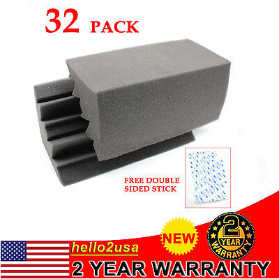 32 Pack Acoustic Treatments Foam Corner Bass Trap Noise Reduction Foam Black USA