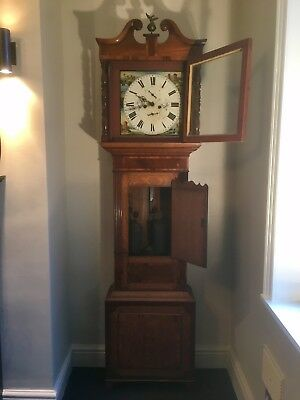 Antique Grandfather Clock Vintage T.RHODES KENDAL Handpainted Face