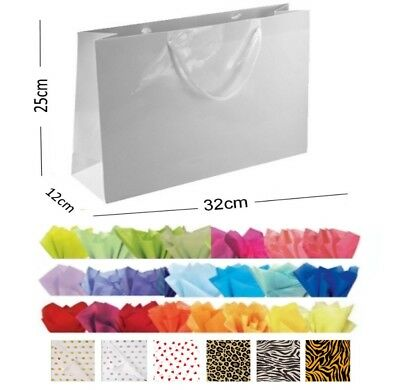 White Glossy Landscape Boutique Shop Gift Bags Strong Shiny Gloss Bag & Tissue