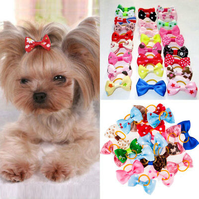 20Pc Mixed Hair Bows Rubber Bands For Small Dog Cat Grooming Bowknot Accessory