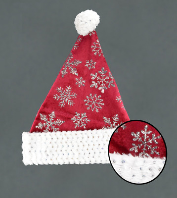 fcd033d539cda Red Velvet Santa Hat Glitter Snowflake Design White Sequin Faux Fur Trim  Bobble
