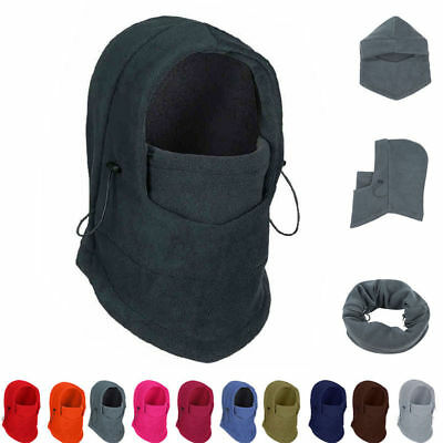 UK Unisex Polar Fleece Hood Hat Beanie Ski Snow Cap Snood Scarf Warmer Thermal