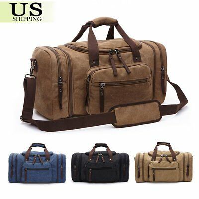 Canvas Travel Tote Luggage Large Men's Weekend Gym Shoulder Duffle Bag US New AS