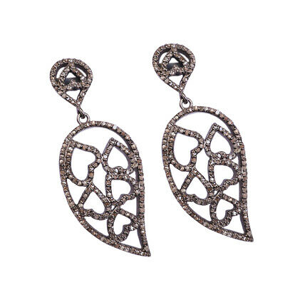 Natural Ruby Pave Diamond Victorian Earrings 925 Sterling Silver Jewelry PQ-246