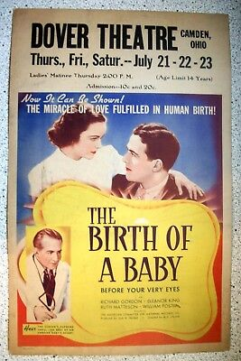 The Birth of a Baby Vintage Orig Window Card 1938 Exploitation Classic Poster