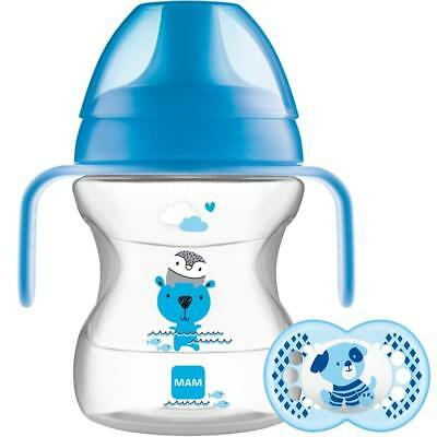 MAM Learn to Drink Cup and Soother for 6 Months baby - 190 ml In Blue color