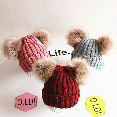 Kids Girls Age 2-6 Winter Fur Pom Pom Ball Knit Crochet Bobble Hat Boys Beanie