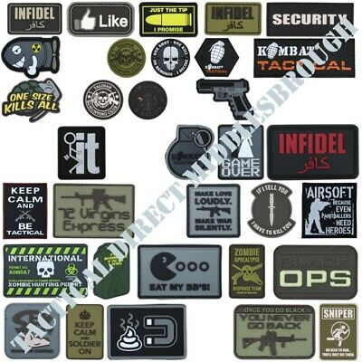 Tactical Morale Patch Hook & Loop Pvc Badge Funny Uk Army Paintballing Infidel