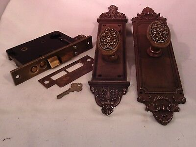 Antique Brass Cylinder Entrance Door Knob Set Oval Knobs Thumb Turn with key#756