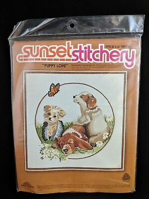"VTG 1979 SUNSET STITCHERY ""Puppy Love"" Embroidery Craft Kit NIP Wool Yarn"