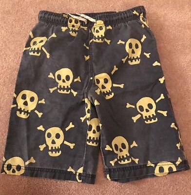 Mini Boden Skull & Cross Bones Navy Yellow Swim Trunks Shorts Bathing Suit $36