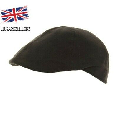 Black Flat Cap Cotton 6 Panel Racing Cap Soft Feel Fully Lined Mens Uk Seller