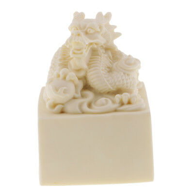 Collectibles Dragon Engraved Statue Seal Stamp Signet for Home Decoration