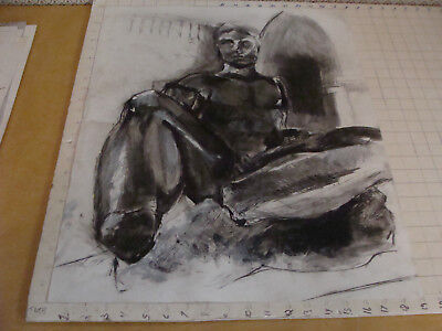 """large original drawing aprox 19 x 24"""" -- NUDE man or statue"""