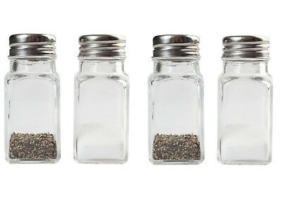 Glass Salt and Pepper Shakers Jar Set (4 Shakers)