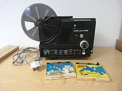 Chinon Sound 7500 8mm Projector with 2x Tom & Jerry 8mm films in original box.