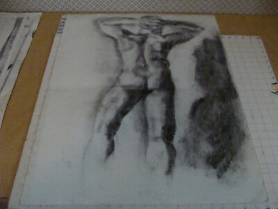 """large original drawing - aprox 22 x 30"""" - NUDE MALE from Back, arms behind head"""