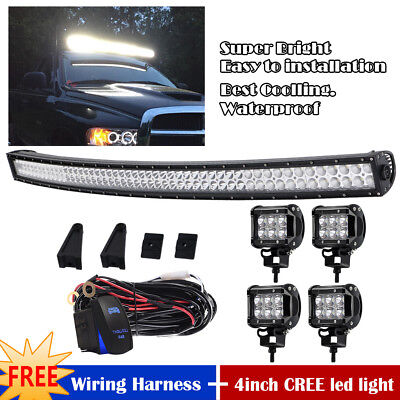 50inch Curved LED Light Bar Combo +4x 4inch CREE Spot Work Lamp Offroad Truck 52