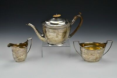 English Sterling Silver Tea Set  By John Emes  London With  Armorial Crest