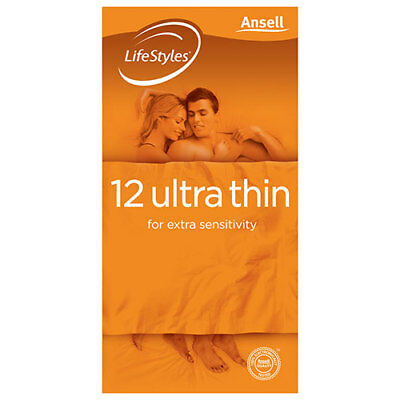 NEW Ansell Lifestyles Condom Ultrathin 12 Pack Condoms Contraceptives