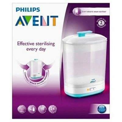 Philips AVENT 2-in-1 Electric Steam Steriliser BPA Free Baby Bottles SCF922/01