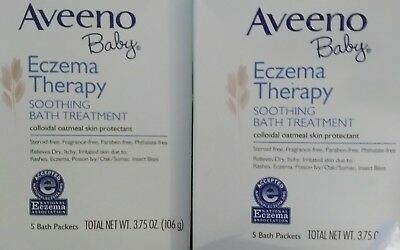 Aveeno Baby Eczema Therapy Soothing Bath Treatment, 5 Count-3.75oz (Pack of 2)