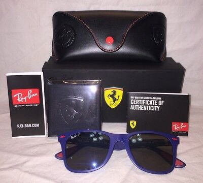 NIB RAYBAN SCUDERIA FERRARI RB4195M Lite Force Polarized Blue Mirror Wayfarer