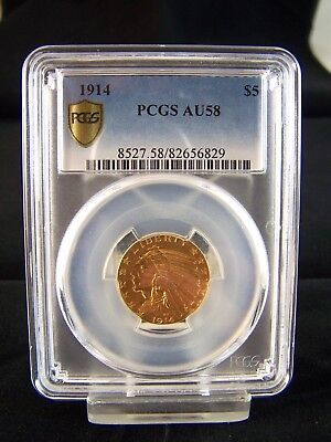 Nice 1914 $5 Dollar Indian Head Gold Coin In Pcgs Au58 Condition