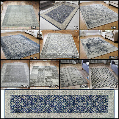 Small Large Runner Modern Traditional Heatset Faded Grey Blue Rugs By Oriental